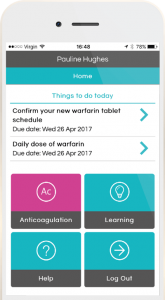 engage warfarin self-testing home screen mobile